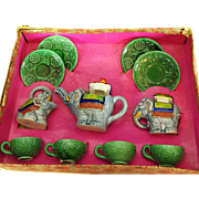 11 PC. Antique Morimura Bros. Little Hostess Tea Set 1910-20 Elephant Set Colors