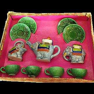 11 PC. Antique Morimura Bros. Little Hostess Tea Set 1910-20 Elephant Set Colors