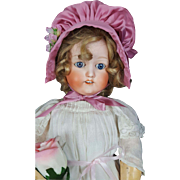 Antique FY NIPPON Bisque Girl Doll Japan 405 Blue Glass Sleep Eyes 24 inches