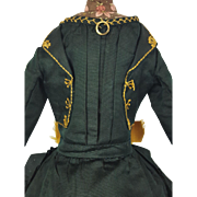 French Doll Dress Antique Original Hunter Green Gold w/ Bow Ruffles & Trim Bru?