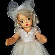 """Terri Lee Doll Vintage Bride Doll 1950s Platinum Blonde Hair Brown Eyes 16"""""""