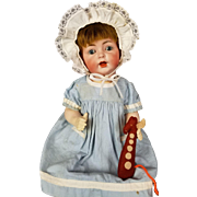 "Antique Doll German Bisque Head Baby Life Size Comp 20"" Org Wig Blue Glass Eyes"