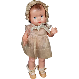 Effanbee Baby Tinyette Vintage Composition Doll Toddler 1930's All Original 71/2