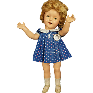 """Ideal Shirley Temple Doll Composition Vintage 18"""" All ORG Clear Eyes RARE Dress"""