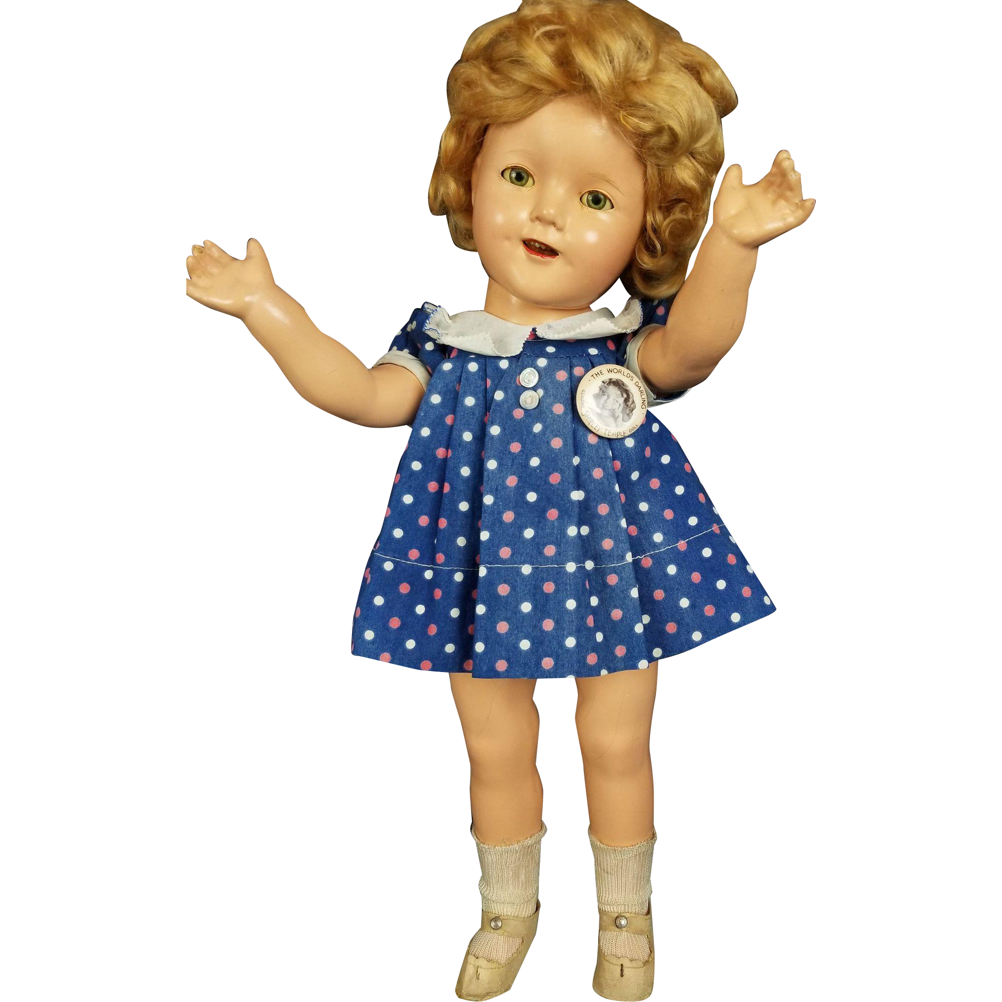 "Ideal Shirley Temple Doll Composition Vintage 18"" All ORG Clear Eyes RARE Dress"
