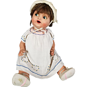 """Antique German Baby Doll Painted Bisque Flirty Blue Eyes Life Size 20"""" Adorable!"""