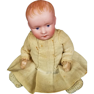 Antique Baby Doll Boy Bisque Head Original Composition Body 5 1/2 Long ORG Clothes