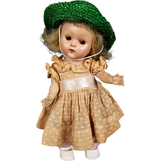 """Vintage Vogue Ginny Painted Lash 1950s Strung Doll Tagged Outfit Blonde Hair 8"""""""