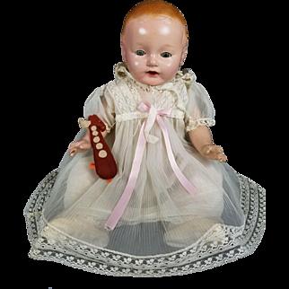Vanta Baby Doll 1920s Amberg Comp/Cloth Vintage Life Size Sleep Tin Eyes Cute!