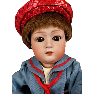 Antique Doll GEBRUDER HEUBACH 8192 Bisque Head German Jointed Body Boy Doll