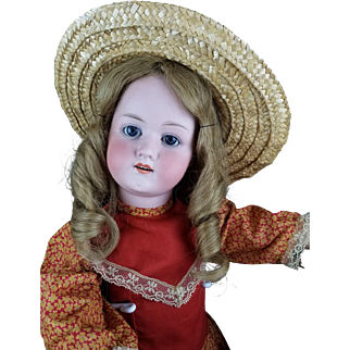 "Antique Doll Baby German Bisque Head Jointed Body Heubach 250 Koppelsdorf 25"" Farm Girl!!"
