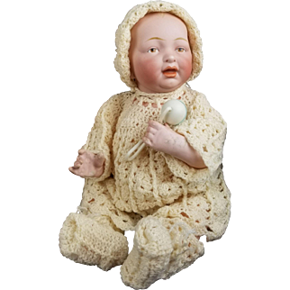 """Antique Baby Doll Kestner Solid Dome Painted Brown Eyes Open/Closed Mouth 12"""""""