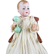 "Antique Doll Baby Kley & Hahn RARE 166 ""Tommy Tucker"" Solid Dome Molded Hair 19"""