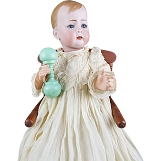 """Antique Doll Baby Kley & Hahn RARE 166 """"Tommy Tucker"""" Solid Dome Molded Hair 19"""""""