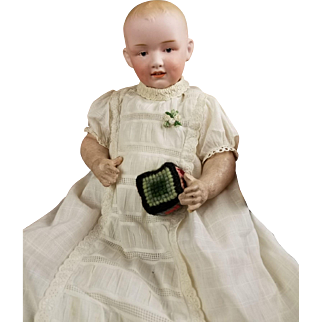 """Antique Doll Baby German Heubach RARE 7620 Solid Dome Head Character Boy 13"""""""