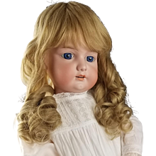 "Antique German Doll Large 30"" Bisque Armand Marseille A3M Blonde Hair Blue Eyes"