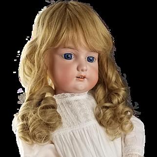 "Antique German Doll Large 30"" Bisque Armand Marseille A3M Blonde Hair Blue Eyes"