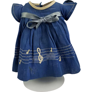 """Vintage Ideal Shirley Temple Comp 1930's Original Blue Music Note Dress for 18"""""""