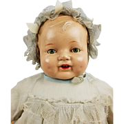 """Vintage 1910s-20s Composition Cloth Doll 20"""" Blue Tin Eyes Molded Hair Dimples"""