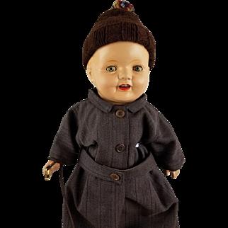 """Vintage 1910s-20s Composition Cloth Doll 24"""" Blue Tin Eyes Molded Hair Boy Doll"""
