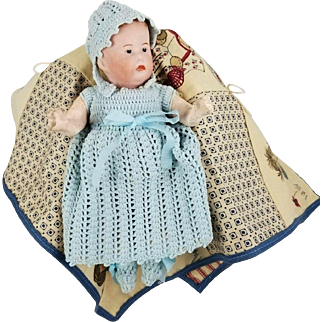 Antique German Baby Doll Solid Dome Head Org Crude Body Painted Facial Features