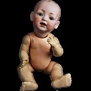 "Antique Doll German Bisque Solid Dome Head Kestner JDK Brown Eyes ORG Body 16"""