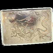 Vintage Antique CHINESE Sterling Silver Dragon Monogram Cigarette Vesta Case 113g