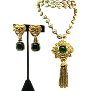 Vintage 1994 CHANEL France Gripoix Emerald Logo Tassel Fx Pearl NECKLACE and EARRINGS Set