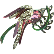 Vintage 1940s EISENBERG Sterling Rhinestone Enamel BIRD On A Branch Figural Brooch Pin