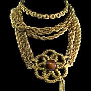 Vintage Rare 1970s Couture YVES SAINT LAURENT YSL Glass Flower Chain Belt Necklace