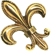 Antique Fine Estate Victorian 14K Gold Fleur De Lis Watch Lapel Pin
