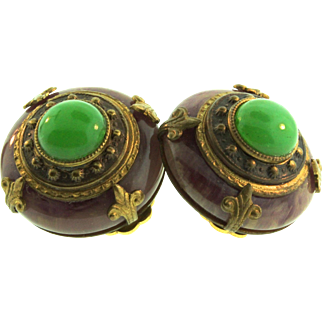 PATRICE Genuine Chrysoprase Natural Stone 24K Brass Round Clip Etruscan EARRINGS