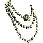 Vintage DESIGNER Fx Pearl Crystal Silver Rondelle Bead Rhinestone Ball NECKLACE 53""