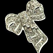 Vintage 1935 Philippe Art Deco TRIFARI Ribbon Bow Figural Rhinestone DRESS CLIP