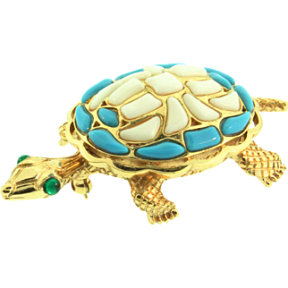 1960s TRIFARI Modern Mosaics Turquoise White Turtle Figural Brooch Pin