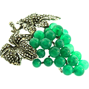 Vintage Art Deco German Sterling Marcasite Chrysoprase BUNCH OF GRAPES Brooch Pin
