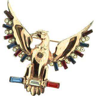 Rare Vintage 1940 WWII Patriotic NORDIC Sterling EAGLE Figural Rhinestone Brooch Pin