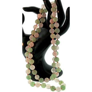 """Art Deco Chinese JADEITE & ROSE QUARTZ Hand-Knotted 9.5mm Bead Necklace 32"""""""