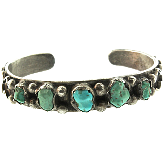 Vintage Signed Native American ZUNI Turquoise Sterling Silver Bracelet CuffSMALL