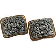 Antique Georgian 1800s FRENCH France Hand-Forged Steel Pair of SHOE BUCKLES