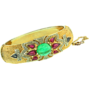 Vintage TRIFARI Jewels of India Cabochon Rhinestone Hinged Clamper BRACELET Bangle Cuff
