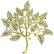 Vintage TRIFARI Tree of Life Rhinestone Goldplated Figural Brooch Pin