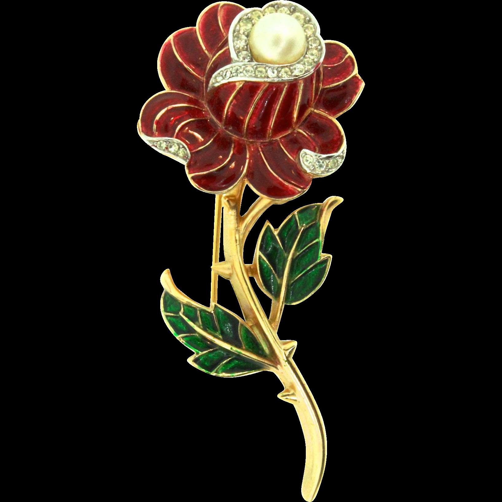 Vintage Trifari Red Enamel Rhinestone Fx Pearl Thorny Rose