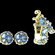 Vintage 1941 Philippe TRIFARI Fruit Salad Rhinestone Flower Pot Pin Clip and Earrings