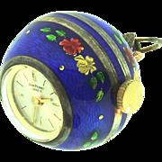 Vintage JEAN PERRET Geneve Swiss Cobalt Blue Guilloche Silver Ball Pendant WATCH