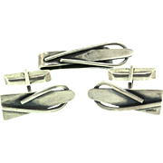 Vintage BILL TENDLER Mid-Century Modernist Sterling Silver Cufflinks and Tie Bar SET