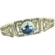 Vintage Sterling Silver Filigree Holland DELFT Porcelain Panel BRACELET 7""