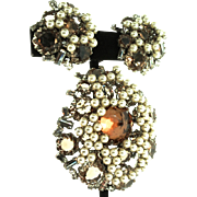 Vintage SCHREINER NY Topaz Crystal Rhinestone Fx Pearl Brooch Pin Pendant Earrings Set