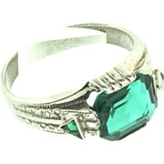 Vintage 1920s ART DECO Sterling Emerald Paste RING Sz 9.5