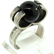 Vintage Kupittaan Kulta MODERNIST Kinetic Finland Sterling 925 Onyx RING Sz 6.5